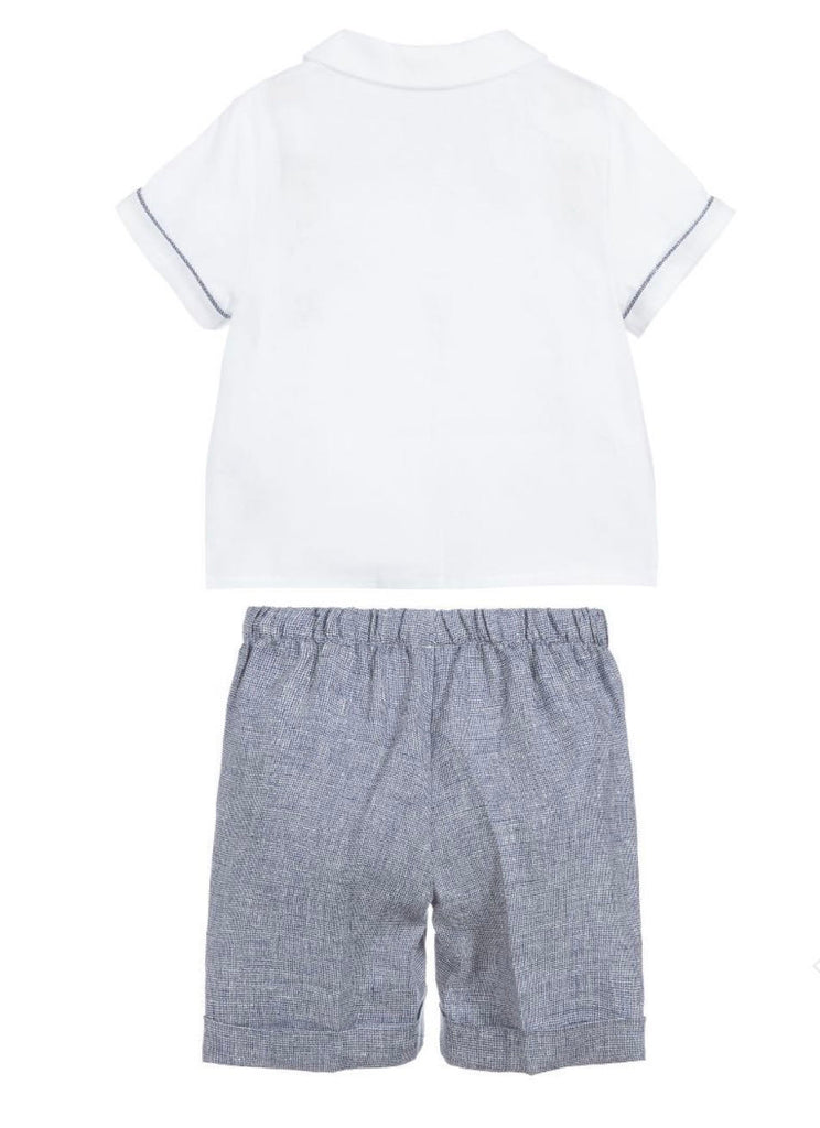 BABY BOY LINEN 2 PC BUTTON DOWN TOP AND SHORT SET, BLUE - Cémarose Canada