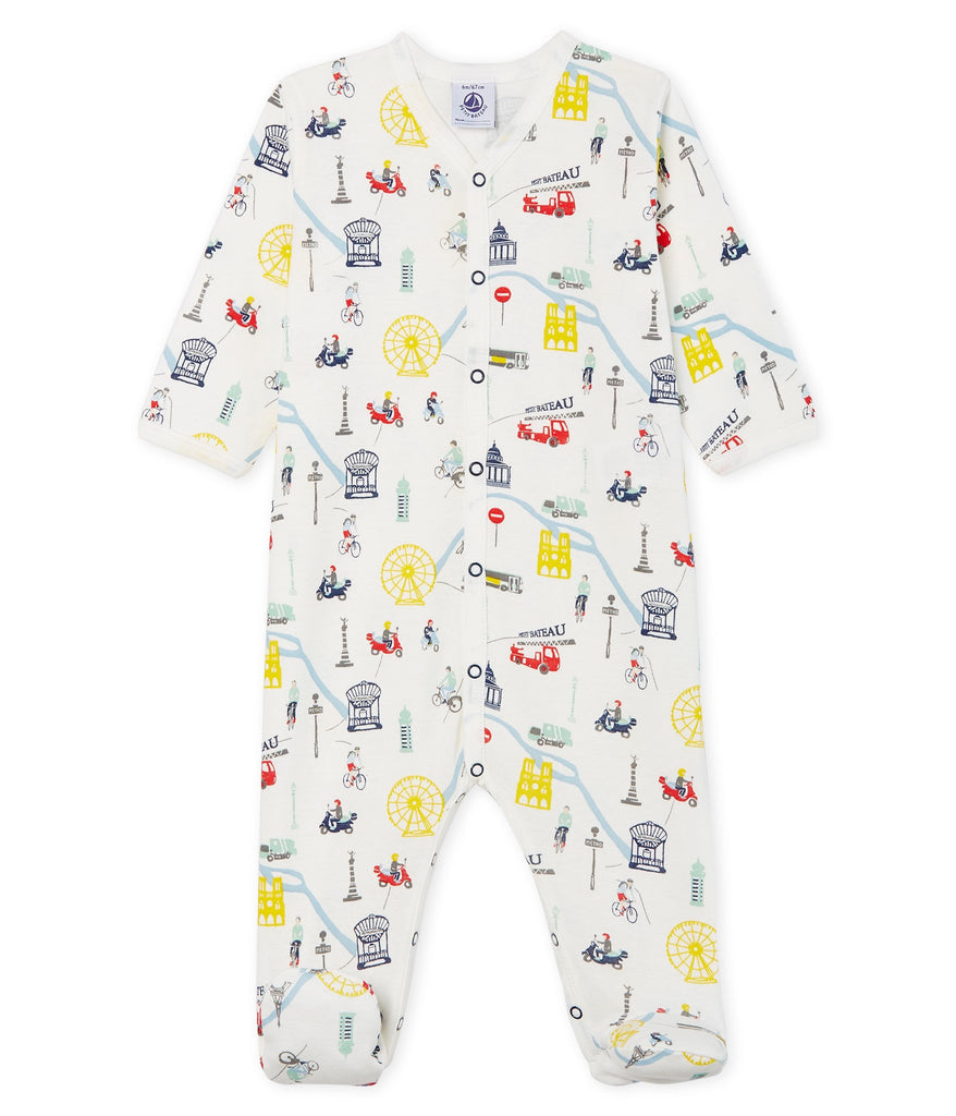 Paris metro print Sleepsuit - Cemarose Children's Fashion Boutique