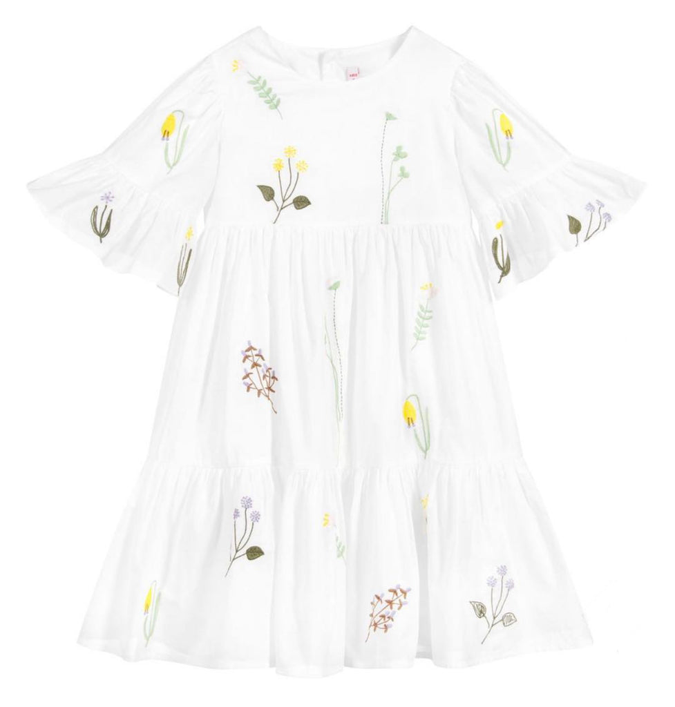 BABY GIRL SS FLOWER EMBROIDERY TIERED DRESS, WHITE - Cemarose Children's Fashion Boutique