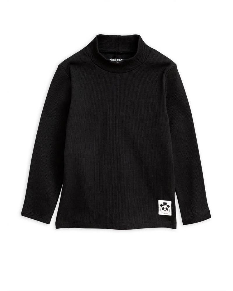 MINI RODINI Solid rib turtleneck ls tee, Black - Cemarose Children's Fashion Boutique
