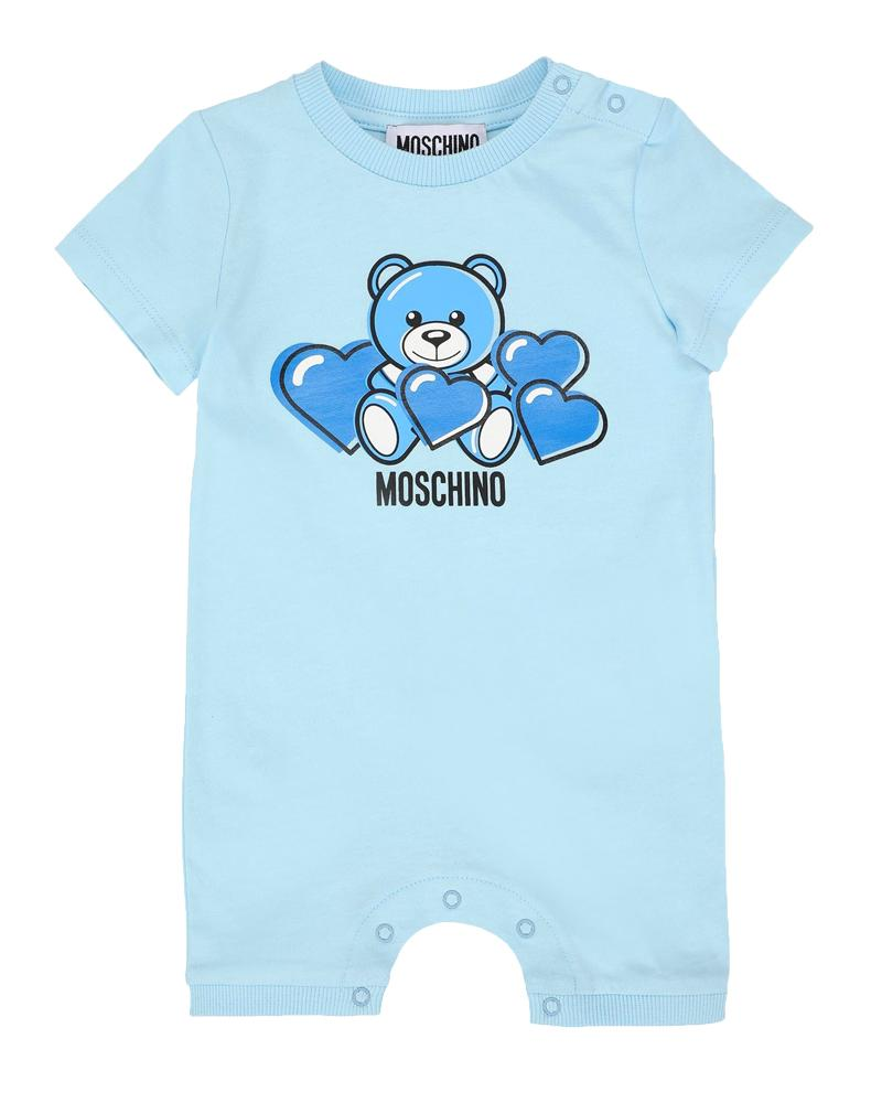 BABY SS ROMPER W HEART BEAR PRT AND GIFT BOX,SKY BLUE