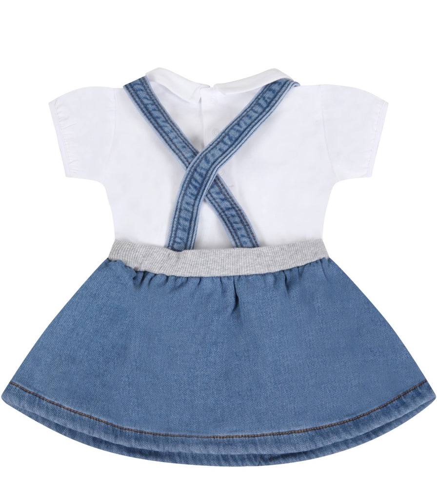 BB SS TEE W OVERALL SKIRT SET W LRG BEAR HEAD