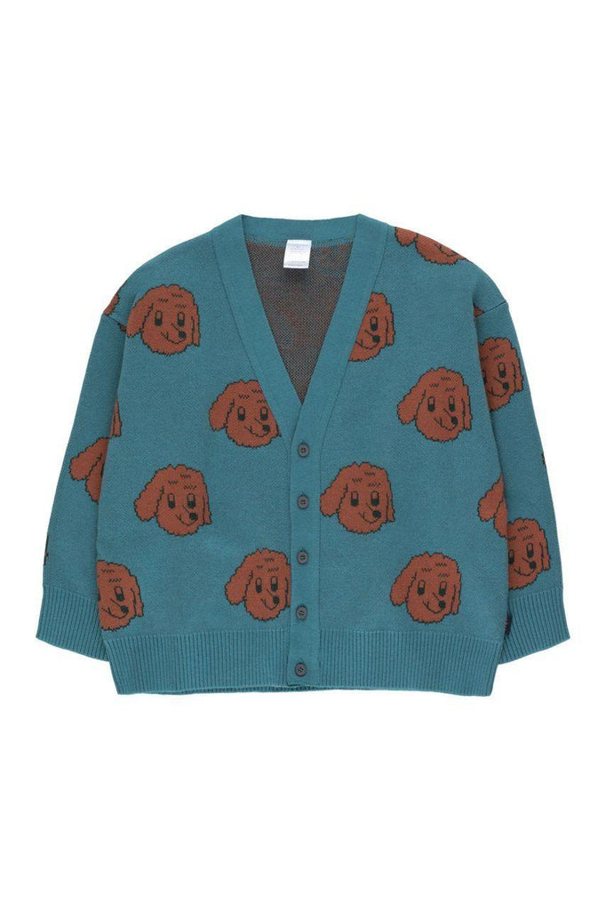 """DOG"" CARDIGAN sea blue/dark brown - Cemarose Children's Fashion Boutique"