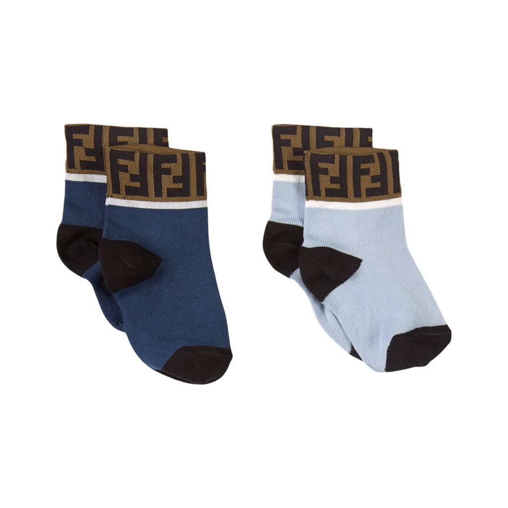 SOCKS WITH LOGO TRIM 2 PACK,NAVY