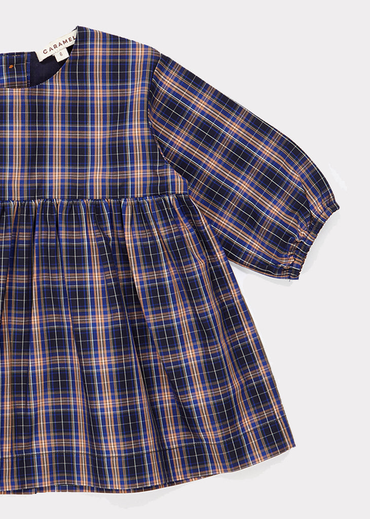 OUREA BABY DRESS, NAVY CHECK - Cemarose Children's Fashion Boutique