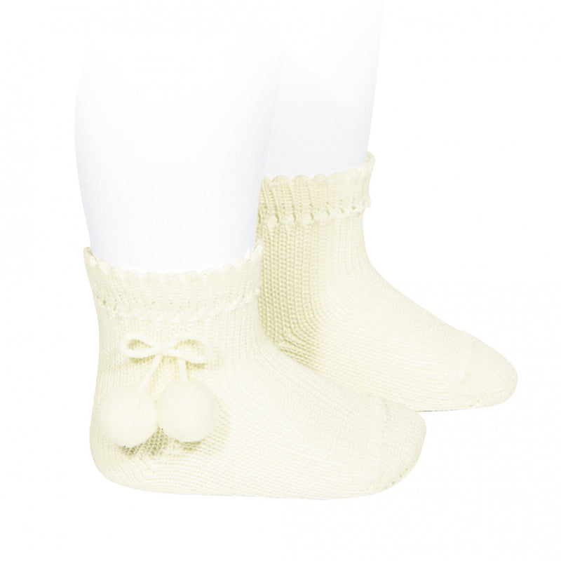PERLE SHORT SOCKS WITH POMPOMS, 2.504/4-303 - Cemarose Children's Fashion Boutique
