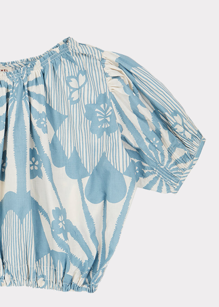 QUEENS PARK BLOUSE, BLUE FLOWER PRINT