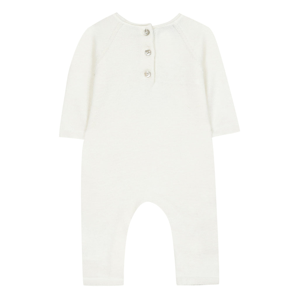 Baby Onesie With Knit Bunny,White