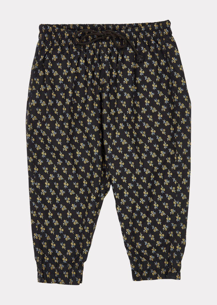 WOODPIDGEON TROUSERS,BLK YELLOW SMALL FLORAL
