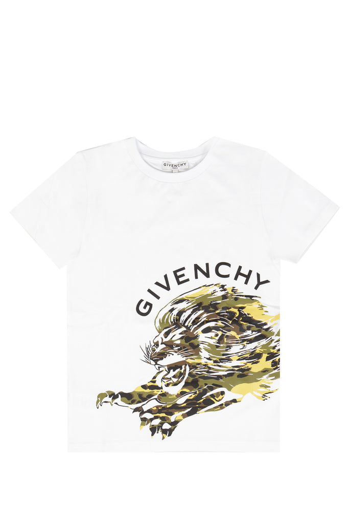 BOY SS TSHIRT, LION PRINT FRONT/BACK,WHITE
