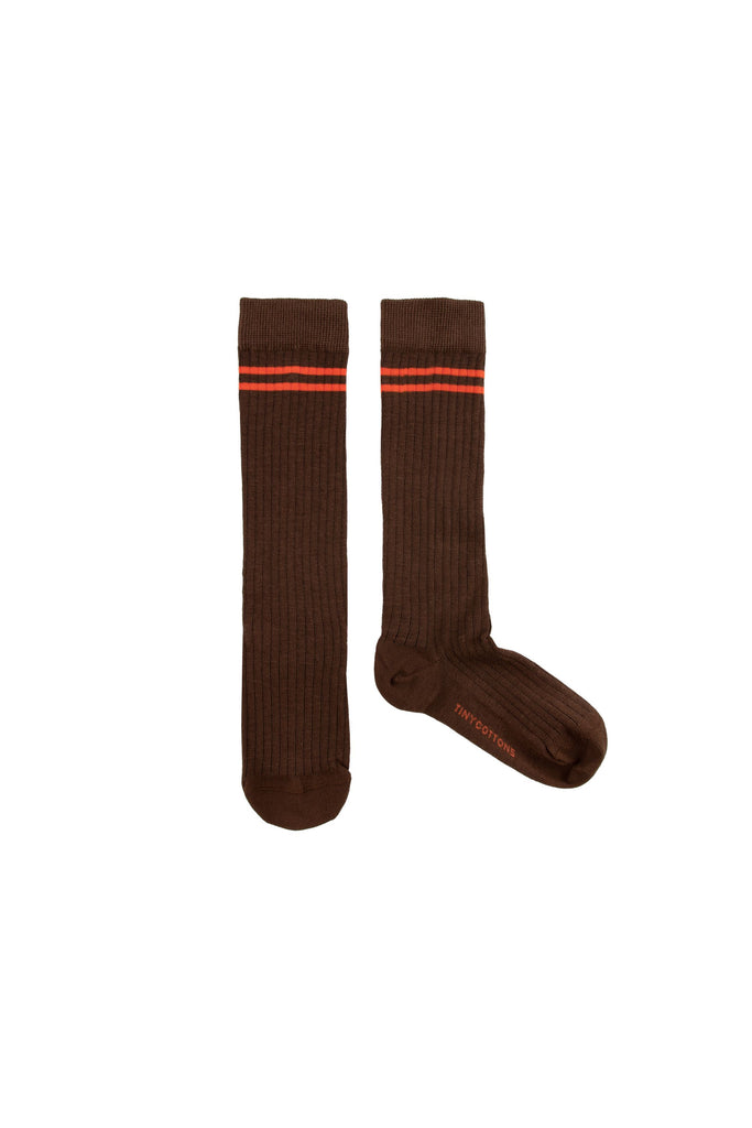 STRIPES HIGH SOCKS ultra brown/red - Cemarose Children's Fashion Boutique