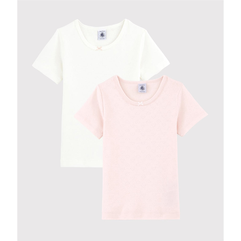 2 PCS GIRL TEE WITH HEART,WHITE/PINK