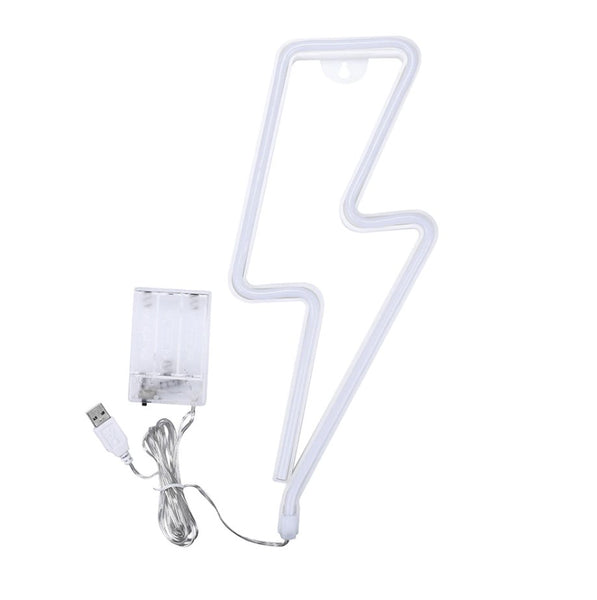 This neon light uses LED at low voltage providing just the right amount of output to catch your eye or be used as a talking point at a party or celebration. Made of acrylic it uses 3xAAA batteries, not included, or can be plugged into a USB port. Integrated hanging hook holes mean you can hang it on the wall or rest it against furniture as shown.