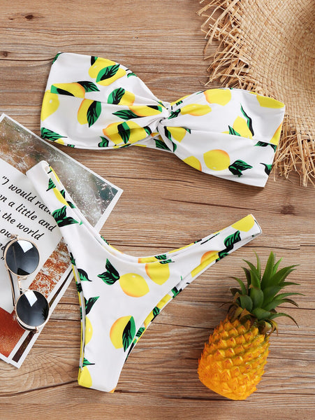 Lemon Twist Bandeau Bikini Set