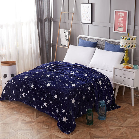 This navy blue fleece throw will sparkle in any room. Perfect choice for a dorm room, or in a room for a kid fascinated by space.  Would also be great to spread on a lawn for a picnic under the night sky!