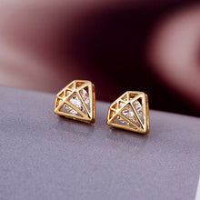 Load image into Gallery viewer, Gold Diamond Shaped Earrings