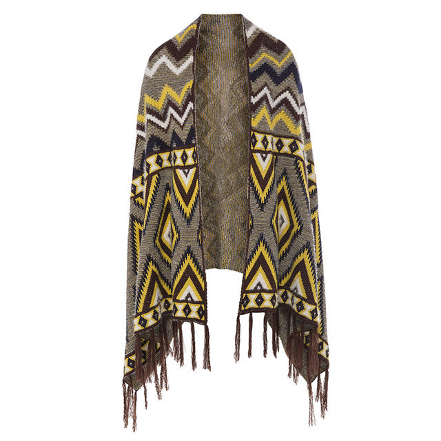 Boho Winter Scarf-Cape