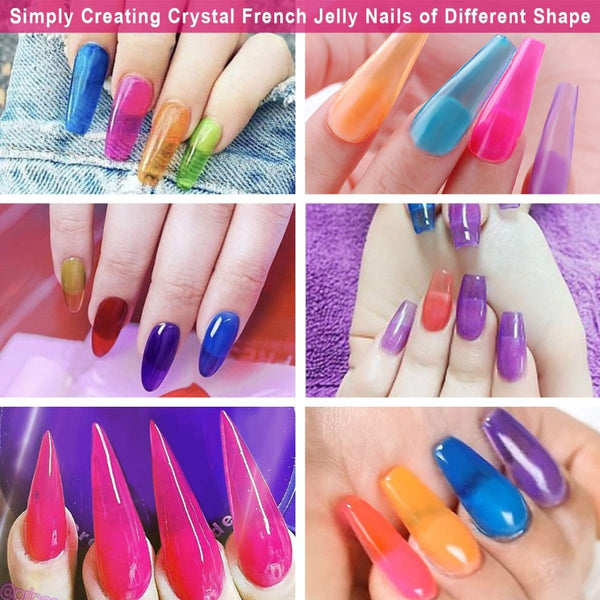 Shiny Crystal Rainbow Gel Nail Kit 6PCS