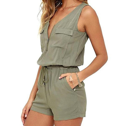 Sleeveless Khaki Shorts Jumper