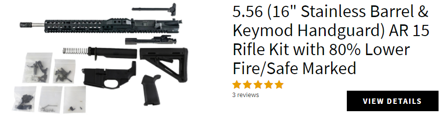 "AR-15 Build Kit - 5.56 (Keymod Upper & 16"" Stainless Steel Barrel) with Fire/Safe Engraved 80% Lower Receiver"