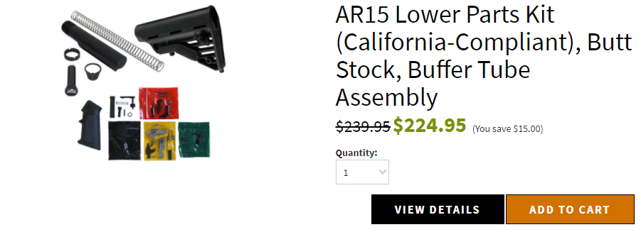 AR15 Lower Parts Kit (California-Compliant), Butt Stock, Buffer Tube Assembly
