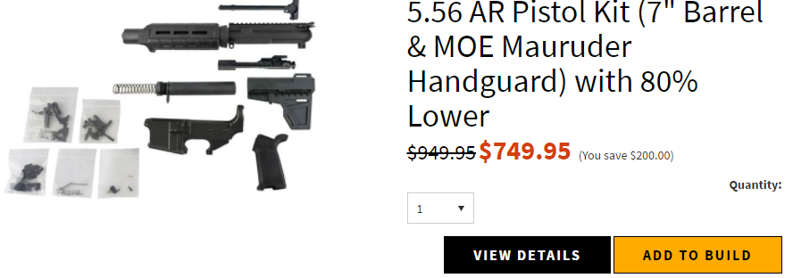 "AR-15 Pistol Kit (5.56 Caliber, 7"" Barrel & Fixed Sight Magpul Hand Guard) w/ 80% Lower Receiver"