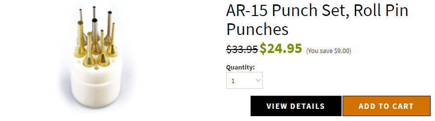 AR-15 Punch Set, Roll Pin Punches