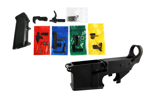 Black 80% Lower Fire/Safe Engraved w/ AR15 CMMG Lower Parts Kit - AR-15 Lower Receivers