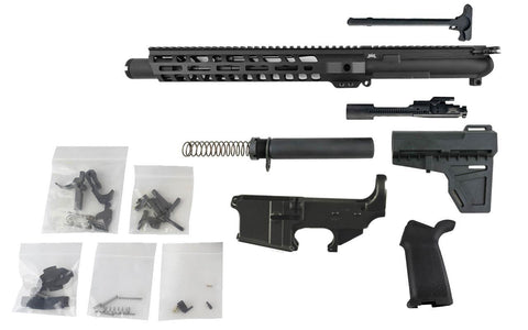 "AR-15 Pistol Kit (5.56 Caliber, 10.5"" Barrel & 12"" Slanted M-Lok Hand Guard) w/ 80% Lower Receiver - AR-15 Lower Receivers"