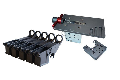 Black 80% Lower (5-Pack) &  Easy Jig Gen 2 with Tooling - AR-15 Lower Receivers