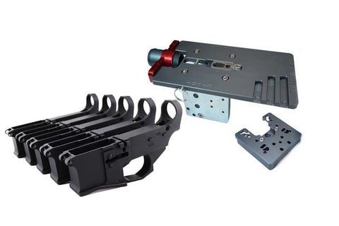 Premium Billet 80% Lower Fire/Safe Marked (5-Pack) &  Easy Jig Gen 2 with Tooling - AR-15 Lower Receivers