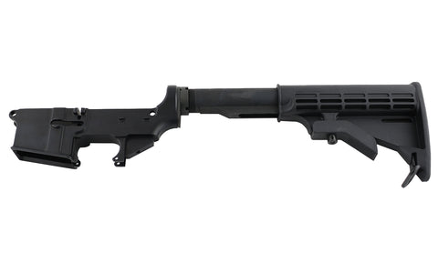 AR15 Lower Assembly / (CA-Compliant) Lower Parts Kit, Butt Stock, Buffer Tube, FIRE/SAFE Engraved, Forged, Black 80% Lower - AR-15 Lower Receivers