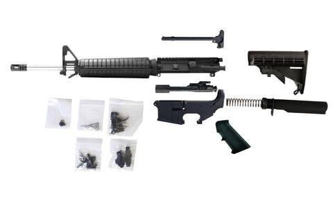 "AR-15 Build Kit - 5.56 (Fixed Front Sight & 16"" Stainless Steel Barrel) with Fire/Safe Engraved 80% Lower Receiver"