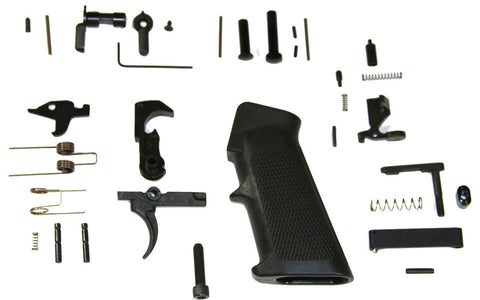 AR15 Lower Assembly / (CA-Compliant) Lower Parts Kit, Butt Stock, Buffer Tube, Premium FIRE/SAFE Engraved Billet Black 80% Lower - AR-15 Lower Receivers