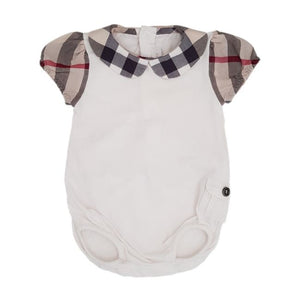 BURBERRY Body bloomer bébé fille col claudine imprimé check 1 mois