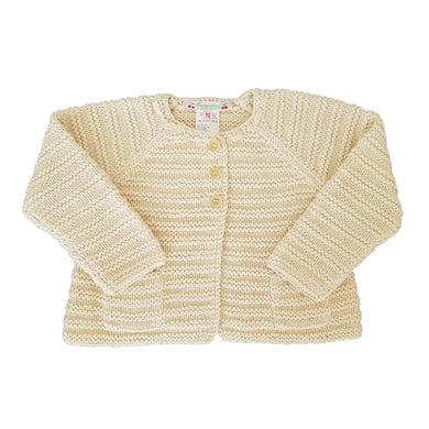 BONPOINT bébé d'occasion - Cardigan bebe fille point mousse écru 12 mois