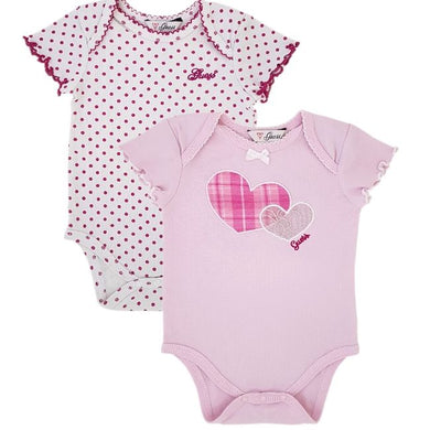 Body bébé fille d'occasion - Duo de bodies GUESS bebe fille 0-3 mois en coton