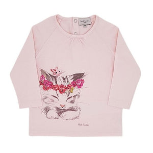 PAUL SMITH BABY Tee-shirt bébé fille rose motif chat 9 mois