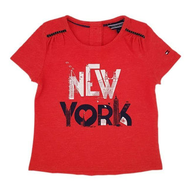 Vêtement bébé occasion - Tee-shirt bebe fille TOMMY HILFIGER 6-9 mois orange New-York