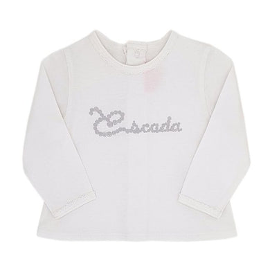 Tee-shirt ESCADA bébé fille d'occasion 3 mois blanc à message