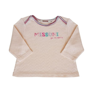 MISSONI Tee-shirt rose brodé 1 mois