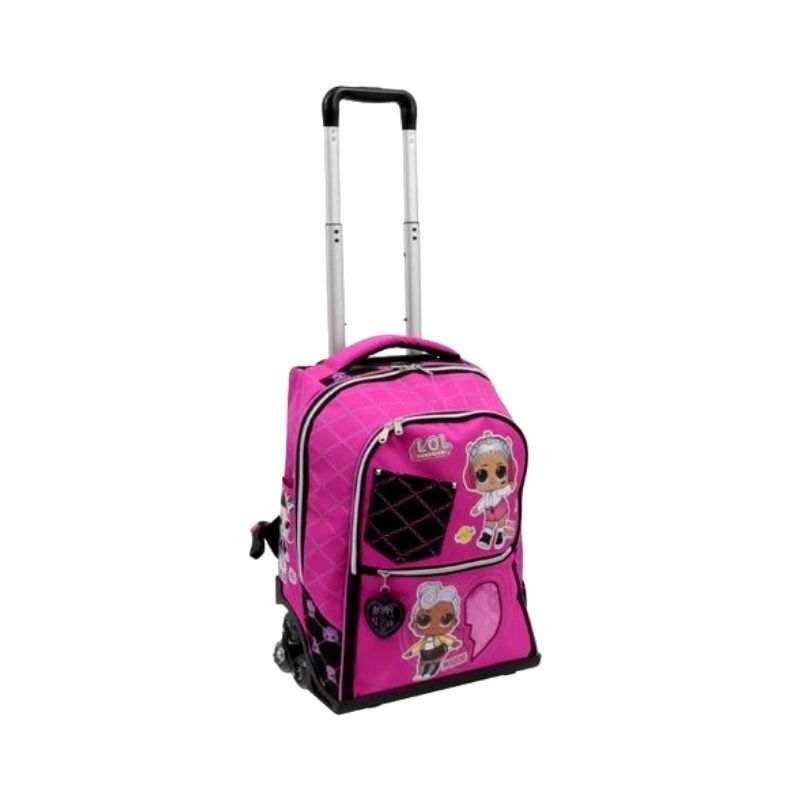Lol trolley zaino con 3 zip rosa e nero