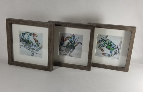 "Set of 3 Framed & Numbered Prints of ""Blue Crab Trio,"" Seashore Wood-finished Frame"