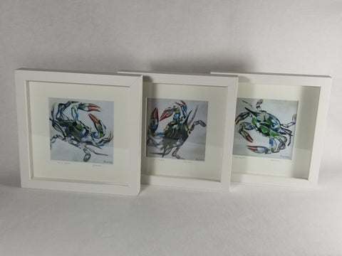"Set of 3 Framed & Numbered Prints of ""Blue Crab Trio,"" White Frame"