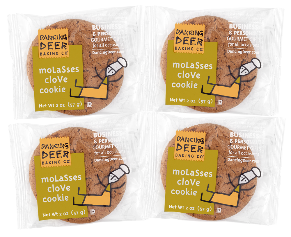 Single-Serve Molasses Clove Cookies (4 Wrapped Cookies) - Dancing Deer Baking Company