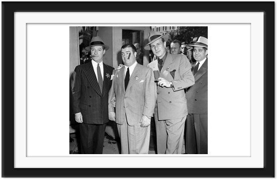 Bud Abbott, Lou Costello and George Hessel enjoying cigars (0038)