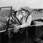 James Dean with passenger Elizabeth Taylor on the set of Giant (0041)