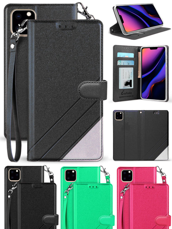 Infolio Wallet Case Credit Card Slot Cover Wrist Strap for iPhone 11 Pro Max