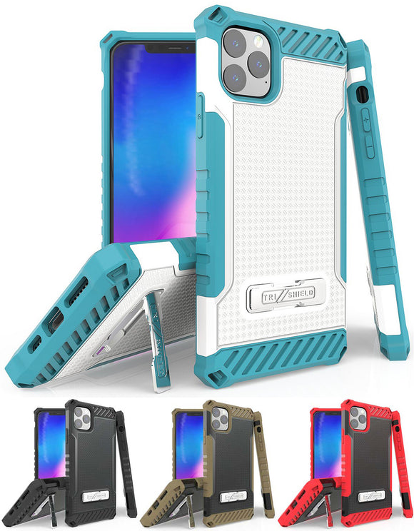 Rugged Tri-Shield Case Cover Kickstand Lanyard Strap for Apple iPhone 11 Pro Max