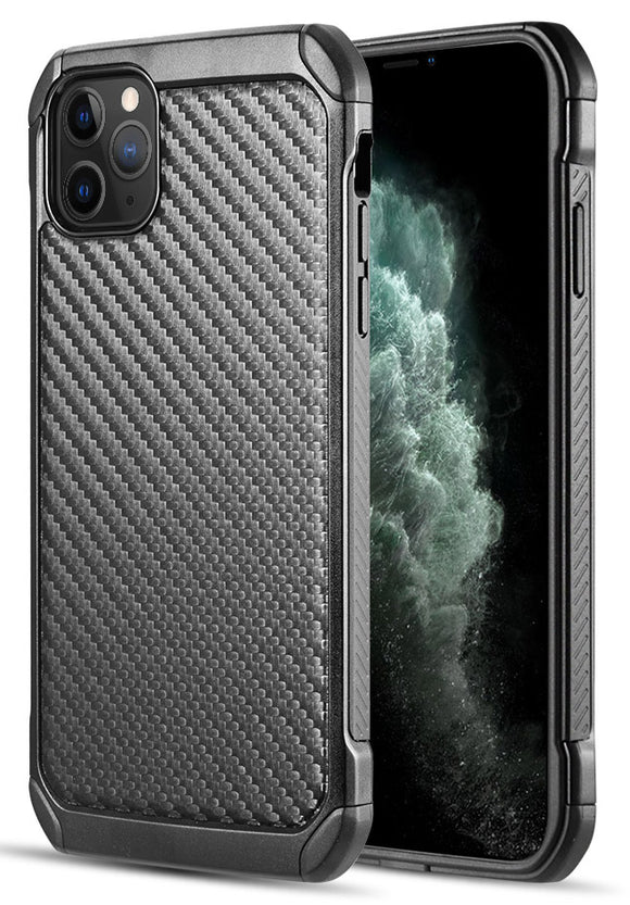 Black Carbon Fiber Rugged Hybrid Case Cover for Apple iPhone 11 Pro (5.8